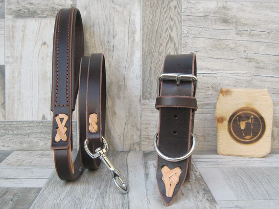Dog Collar and Leash Set in Brown Leather, Adjustable Collar Ideal for Small and Large Dogs, Custom Leash Lenght and Width, Made in Italy