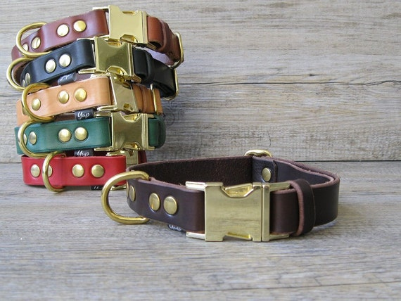 Leather Dog Collar, Solid Brass Hardware, FREE ID Tag, Brown Dog Collar, Colorful Dog collar, Quick Release Buckle Dog Collar, Custom Collar