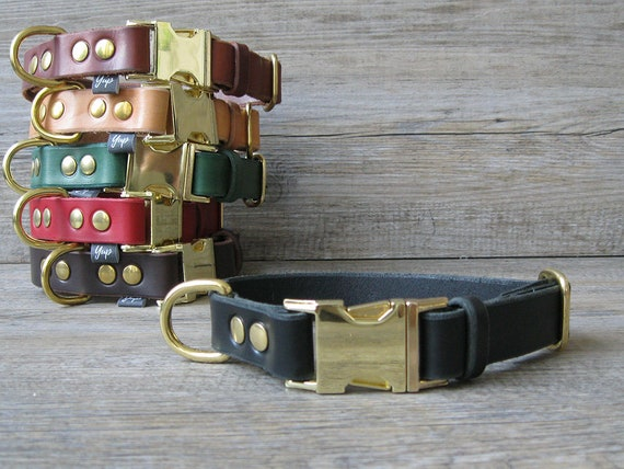 Black Dog Collar, Leather Dog Collar, FREE ID Tag, Brass Hardware Dog Collar, Handmade Dog Collar, Personalized Collar, Breakaway Collar