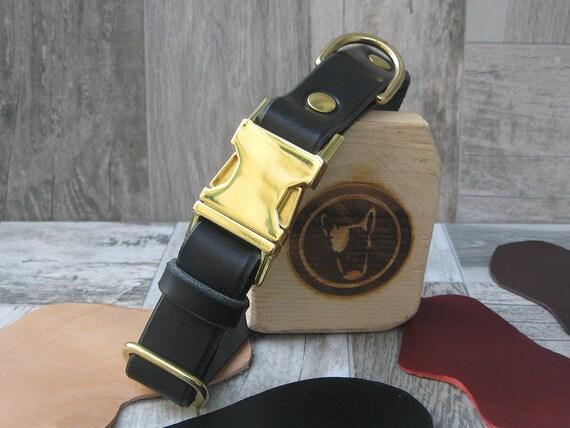 Black Dog Collar, Leather Dog Collar, FREE ID Tag, Brass Hardware Dog Collar, Handmade Dog Collar, Personalized Collar, Breakaway Collar
