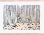 Moose Birch Forest Art, Moose print, moose painting, moose art, birch trees, spirit animal, nursery art, office art, room art, free shipping
