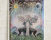 Deer Art, Sun and Moon, Deer print, deer painting, boho deer art, living room art, nursery art, couple art, free shipping, nature art