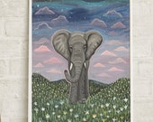 Elephant art, home decor, sunset landscape art, animal art, elephant painting, elephant print, nursery art, office art, free shipping