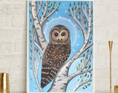 Snowy Owl, Birch Tree art, owl print, owl painting, owl art, nursery art, office art, living room art, brown owl, spirit owl, free shipping