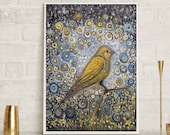 Canary art, yellow bird art, home decor, bird art, canary art, nursery art, office art, wall art, yellow art, free shipping, floral art