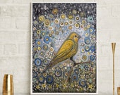 Canary art, yellow bird a...