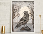 Crow Art, raven painting, black and white, Norwegian art, rustic,home decor wall art, office art, spirit animal, bird art, free shipping