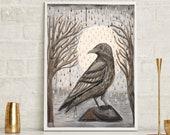 Crow Art, raven painting,...