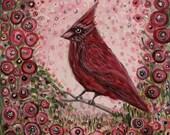 Cardinal Bird Art, floral...
