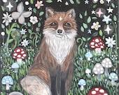 Fox art, home decor, Fox spirit animal, fox painting, fox print, nursery art, office art, living room art, woodland fox, free shipping