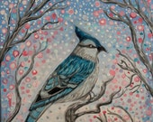 Blue Jay Floral Painting ...