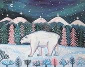 Polar Bear Art, children's room art, nursery art, home decor, kids room art, wall art, art, winter landscape, office art, free shipping
