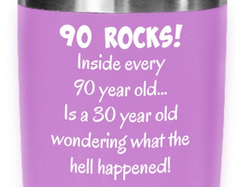 90s Tumbler Happy 90 Year Old 1929 90th Birthday Gift For Women Or Men Mom Dad Wife Husband Mothers Day Fathers Present