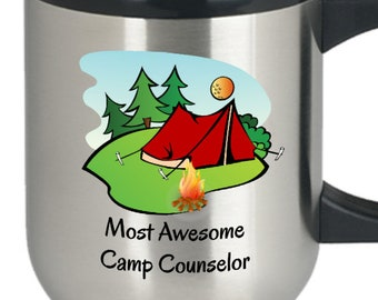 Summer camp mug camp mug camp coffee mug camp counselor mug camp director mug camping themed mug - Most awesome camp counselor travel mug