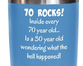 70s Tumbler Happy 70 Year Old 1949 70th Birthday Gift For Women Or Men Mom Dad