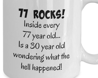 Happy 77 Year Old 1942 77th Birthday Gift Mug For Women Or Men Great Christmas Mothers Day Fathers Present Coffee Tea Cup