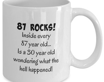 Happy 87 Year Old 1932 87th Birthday Gift Mug For Women Or Men Great Christmas Mothers Day Fathers Present Coffee Tea Cup