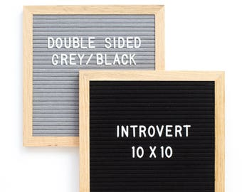 "Double-Sided 10 x 10"" Grey/Black Introvert Letter Board - Oak Frame Letter Board and 300+ Characters"