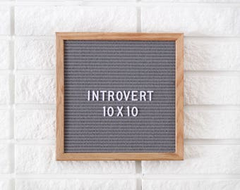 "10x10"" Introvert Letter Board - Oak Frame Letter Board - Messenger Board - Felt Board with 300+ Letter Set"