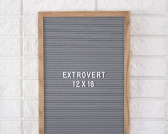 "12 x 18"" Grey Extrovert Letter Board - Oak Frame Letter Board with Grey Felt and 300+ Characters"