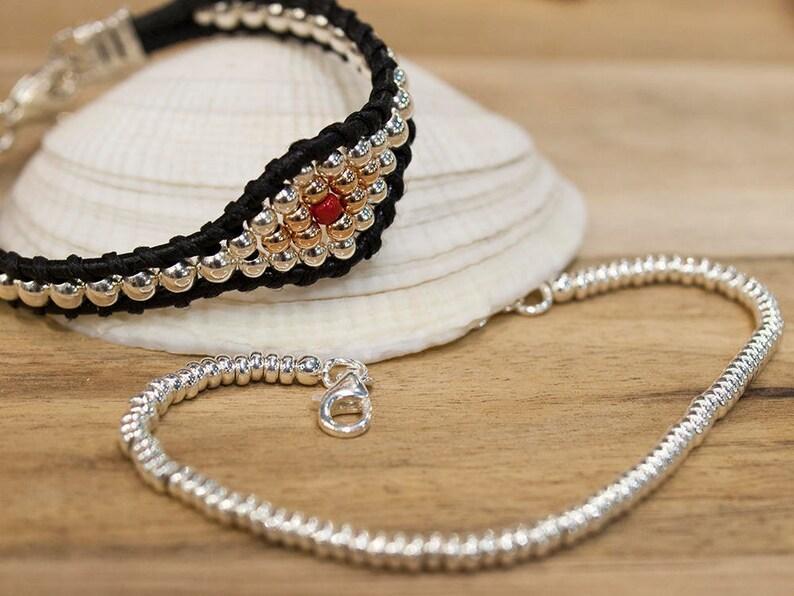 Ethnic Jewelry Women/'s Beaded Bracelet Leather Beaded Bracelet Gold /& Silver Bracelet Sterling Silver Women/'s Bracelet Ethnic Bracelet