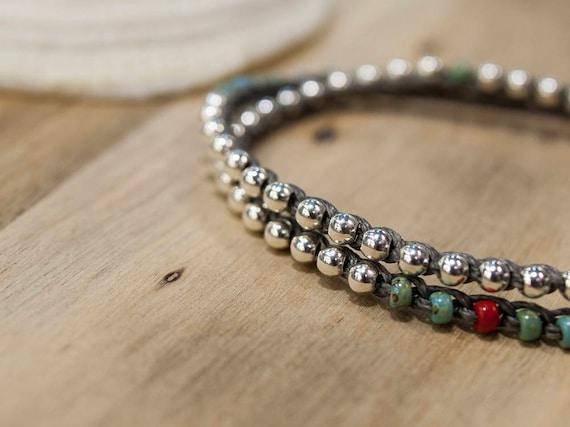 Gift For Her Friendship Surfer Jewelry Girlfriend Sterling Silver 925 Custom Bracelet Bohemian Femme Beaded Wrap Bracelets For Women