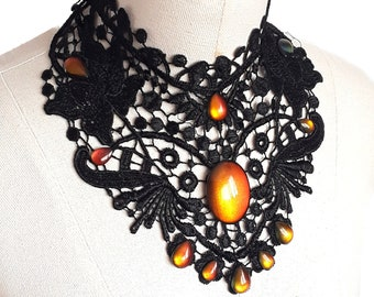 Necklace Black chain collar choker lace necklace WGT
