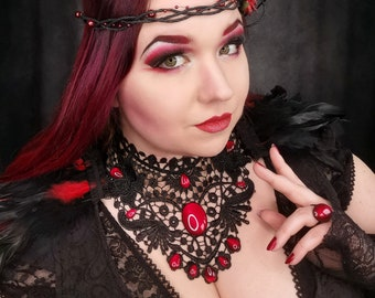 Black lace necklace grand piano with colored cabochon glass stones for gothic wedding and as jewelry for photo shoot