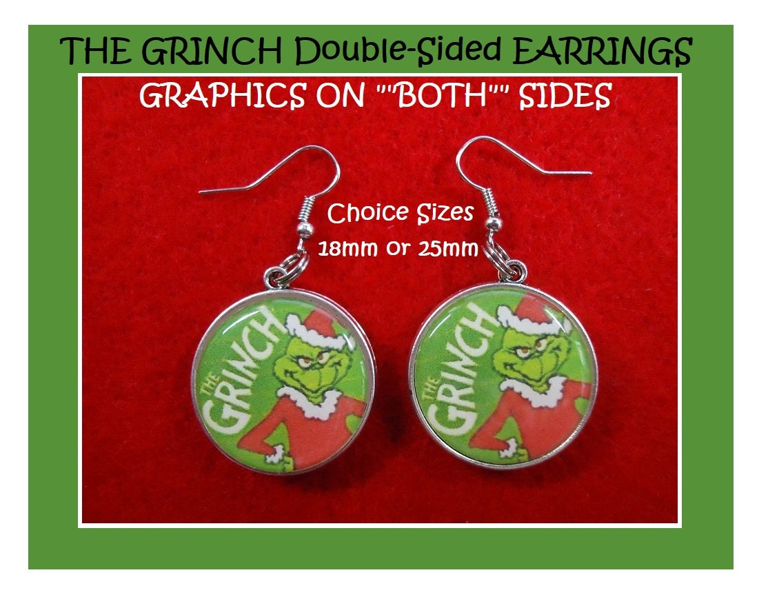 Book How the Grinch stole Christmas Earrings Santa Grinch from the Movie