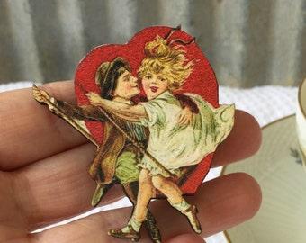 Valentine's Day Brooch, Valentine's pin, Wooden laser cut pin, Heart brooch, Tea Party, Alice in Wonderland pin, Victorian Valentine's Day