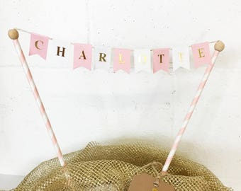 Cake Topper Bunting personalized with name: pink, white and gold. Birthday flags, Cake Decoration, party pink