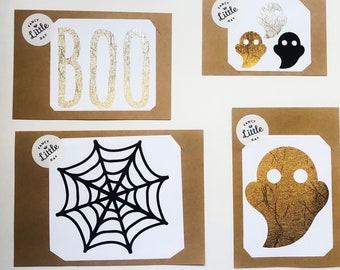 Autocollant amovible : Collection Halloween. BOO, Fantôme, toile d'araignée, Duo Chauves souris, Duo étoiles ou Trio mini fantôme.