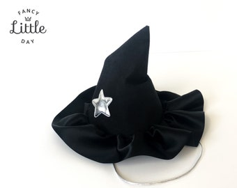 Sorcerer's hat and witch. Unisex and reusable.  Pointed denim hat and BLACK satin ribbon. Halloween party hat. Party items
