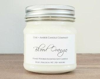 BLOOD ORANGE   Soy Candle   Scented Candle   Mason Candle   Citrus Candle   Orange   Blood Orange Scent   Summer Candle