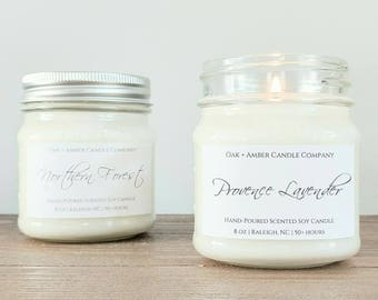PICK 2 MASON JARS | Soy Candle | Scented Candle | Gift Set | Custom Gift | Candles | Candle Set | Candle Gift