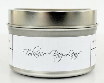 TOBACCO + BAY LEAF   Soy Candle   Scented Candle   Candle Tin   Candles   Nature Candle   Natural and Clean Soy Candle