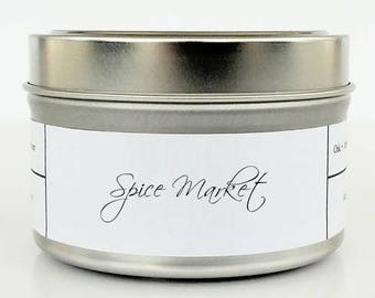 SPICE MARKET   Soy Candle   Scented Candle   Candle Tin   Candles   Exotic Spices   Cinnamon, Nutmeg and Clove Spice Candle