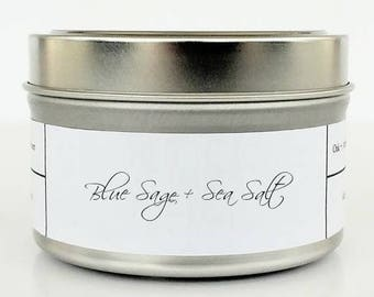 BLUE SAGE + SEASALT   Soy Candle   Scented Candle   Candle Tin   Sage Candle   Ocean   Jasmine and Lavender
