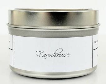 FARMHOUSE   Soy Candle   Scented Candle   Candle Tin   Candles   Cozy Candle   Pine Woodsy Candle   Farmhouse Candle   Farmhouse Kitchen