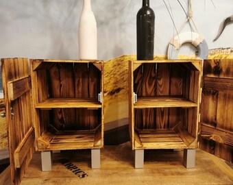 Nachttisch Set Holz geflammt Vintage,Schlafzimmermöbel,Beistelltisch mit Stauraum,Telefontisch,Telefonschrank,Holzkiste Holzschränkchen,
