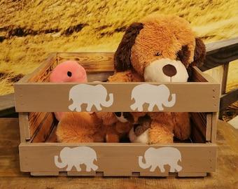 Elefant,Spielzeugkiste Fahrradkiste Holzkiste Wunschmotiv Wunschtier,Gepäckträger Fahrrad,Aufbewahrungskiste Einkauf,Schamanisches Krafttier