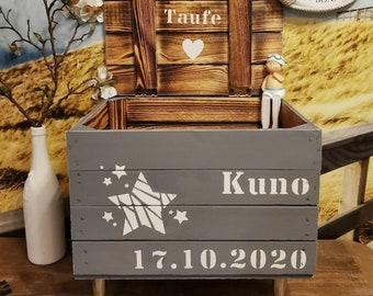 Erinnerungsbox Baby,Geschenk personalisierbar,Holztruhe mit Namen personalisiert,Erinnerungskiste,Spielekiste,Geburtsgeschenk,Taufgeschenk