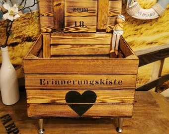 Gift for 18th birthday,memory box with name,reminder box customizable,wooden chest,gift box,gift birth,baptism gift
