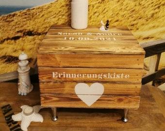 Erinnerungskiste Hochzeit Hochzeitskiste,Zeitkapsel,geflammte Hochzeitstruhe,Hochzeitsgeschenk Silberhochzeit,Holzkiste mit Deckel
