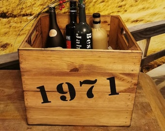 Männergeschenk,Geschenk 50.Geburtstag Jahrgangskiste mit Namen, Geburtsjahr,personalisierte Geschenkekiste,Flaschenkiste Bester Jahrgang