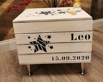 Reminder box baby,gift customizable,wooden chest personalized with name,reminder box,game box,birth gift,baptism gift