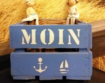 Moin,Wooden Box Kitchen,Gift,Anchor,Maritime Wooden Box,Bottle Carrier,Gift Box,Birthday Box,Bottle Box,Father's Day