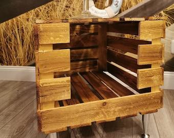 Beistelltisch,Tierbett aus Holz personalisierbar,geflammte Holzkistemit Deckel,Hundebett,Katzenbett,Katzenhöhle,Hundekorb,Couchtisch,Truhe