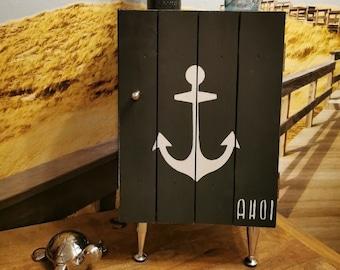 maritimer Beistelltisch auf Rollen,Nachttisch,Nachtschrank,Badschrank,Küchenschrank,Couchtisch,Holzkiste mit Deckel, Wandschrank,Holztruhe