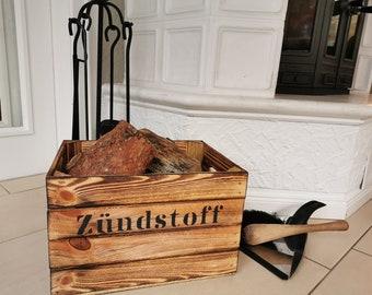 Kaminholzkorb rustikal Vintage,Brennholz Halter,Zündstoff,Feuerkorb,Feuerholzkorb,Holzkiste,Aufbewahrungskiste Kaminholz,Ofenholz